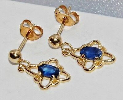 9ct Yellow Gold Sapphire Vintage Cluster Dropper Stud Earrings -