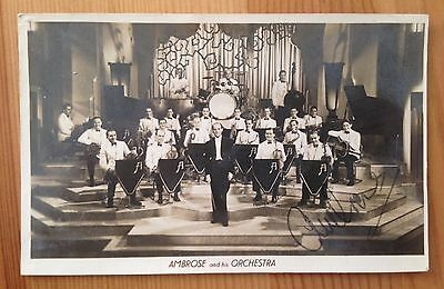 Vintage 1930's Ambrose and his Orchestra Original Photo Postcard Signed