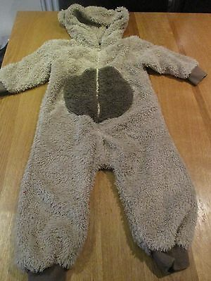 Baby Boys Next Teddy Fleece Onesie Age 9-12 Months With Hood