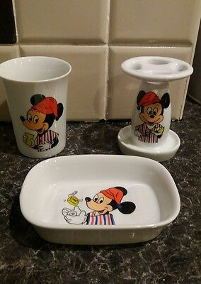 Mickey Mouse childs vintage ceramic/ pottery soap dish,toothbrush holder, beaker