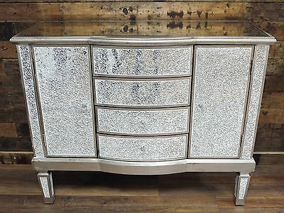 mirrored sideboard,crackled glass mirrored cabinet, large crackled sideboard,