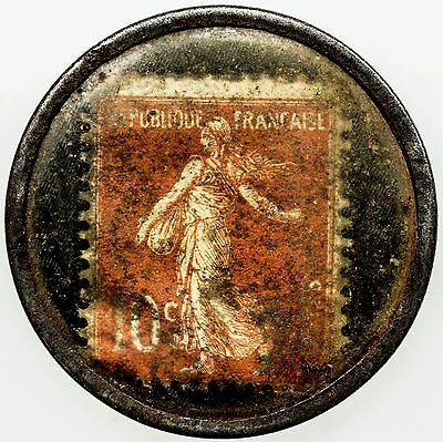 FRANCE: 10 centimes encased postage, ND (ca. 1920), timbre monnaie