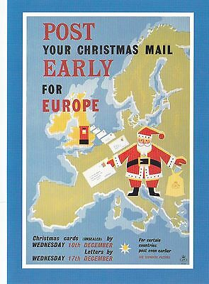 GPO Posters of Yesteryear Mail early For Europe  Postcard Mint