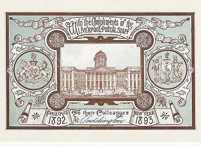 GPO Liverpool Official Christmas Card 1888 Postcard Mint
