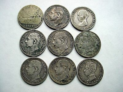 Lot Of 9 Spanish Silver 50 Cent Coins - Various Dates - Must See