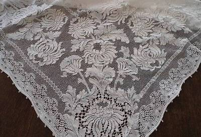 True Vintage Quaker #6140 Lace Dinner Tablecloth Ecru Scrolls Flowers Picots 78""