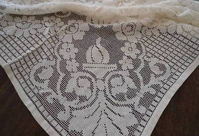 Early Vintage Filet Lace Tablecloth Ecru Urns of Flowers Imperfect 82""