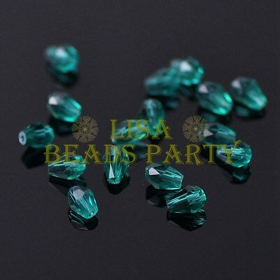 New 100pcs 5X3mm Teardrop Crystal Glass Faceted Spacer Loose Beads Peacock Green