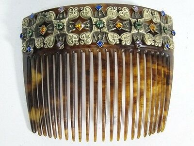 Fancy Victorian Faux Tortoise HAIR COMB Brass with Prong Set Rhinestones