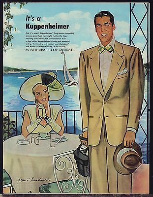 1947 KUPPENHEIMER Men's Clothing Forties Suit Vintage 1940s 40s Fashion AD