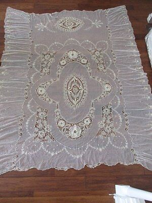 EXQUISITE ANTIQUE FRENCH NET LACE TAMBOUR EMBROIDERED BEDSPREAD or COVERLET