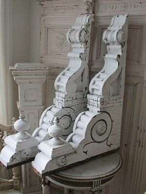 OMG Large PAIR Old Architectural CORBELS ORNATE w/Finials Chippy White 3' Tall