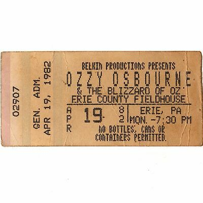 OZZY OSBOURNE & MAGNUM Concert Ticket Stub ERIE PA 4/19/82 DIARY OF A MADMAN