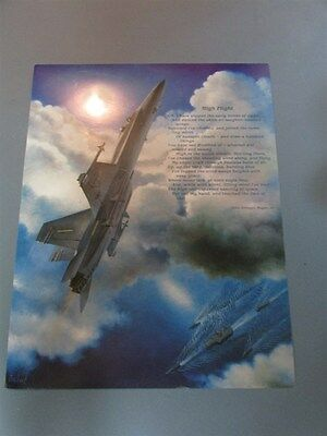 High Flight John Gillespie Magee F-18 Hornet Military Aviation Aircraft  Print