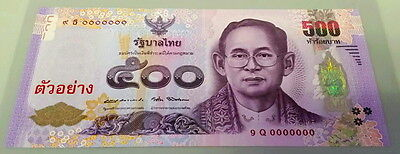 Thailand 2016 500 Baht Specimen Commemorative Queen 7Th Cycle Very Rare Unc