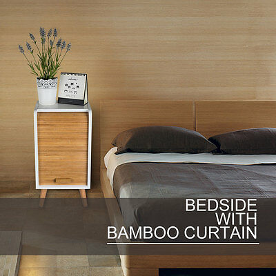 Modern Style Bamboo Curtain Bedside Wooden Cabinet Side Table Nightstand Storage