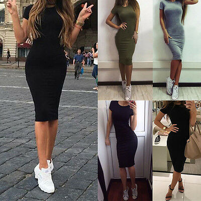 Women Long Short Sleeve Cocktail Bodycon Party Solid Slim Casual Mini Dress