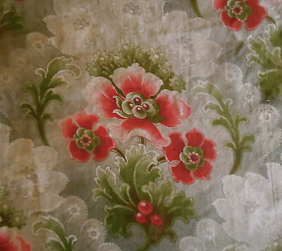 Antique French At Nouvea Floral Cotton Fabric ~ Red Green Gray