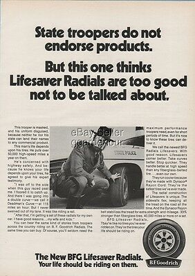 1970 State Police Policeman Wearing CREEPY Mask Photo BF Goodrich Tire Ad