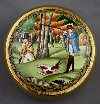 Halcyon Days Enamel Brass Paperweight Hunting Scene For James Purdey Gunmakers