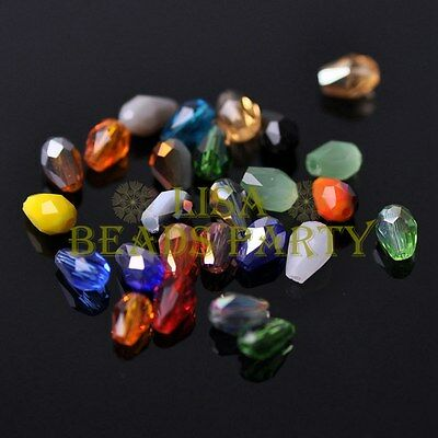 New 100pcs 5X3mm Teardrop Crystal Glass Faceted Spacer Loose Beads Mixed