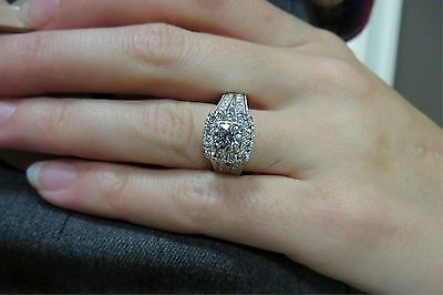 D/VVS1 Engagement Ring 2 Carat Round Cut 14k White Gold Bridal Diamond Jewelry