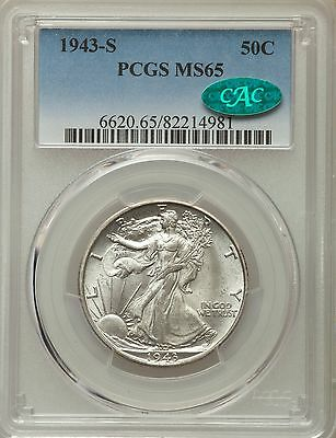 1943-S US Silver 50C Walking Liberty Half Dollar - PCGS MS65 - CAC