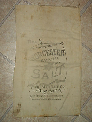Vintage Early Worcester Salt Co. Advertising Bag Silver Springs, NY Dairy & Meat