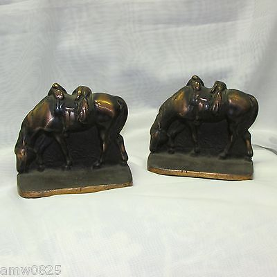 Antique Cast Iron Horse Bookends Copper Finish Heavy Old Metal Pair Vintage
