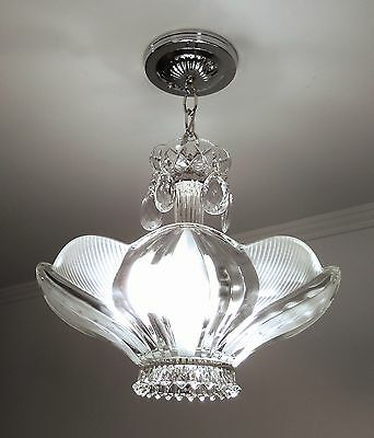 Custom Art Deco Glass Ceiling Light Fixture Chandelier Satin Crystal and Clear