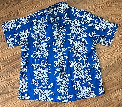 Vintage Reef Hawaiian shirt 1950s/60s Blue & White Tropical Floral
