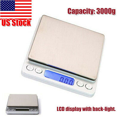 0.1g Precision Jewelry Electronic Digital Balance Weight Pocket Scale 3000g LCD