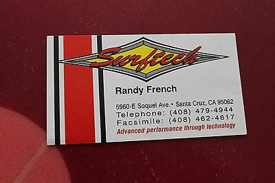 Vintage Surfing SURFTECH TUFLITE Randy French Surfboards 2x3in. Business Card