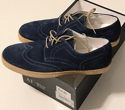 NIB ARMANI JEANS Men's AZZURO BLUE SUEDE WINGTIP LACE UP SNEAKERS Size US 12
