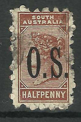 SOUTH AUSTRALIA 1891 Queen Victoria ½d BROWN OVERPRINTED OS Used (No 1)