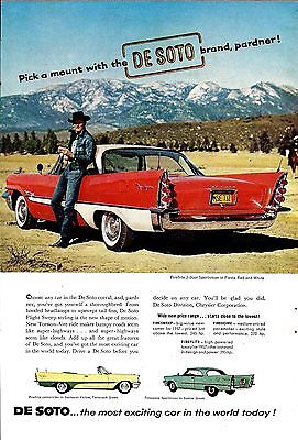1957 DESOTO Fireflite 2-door Sportsman Fiesta Red & White Antique Car Photo AD