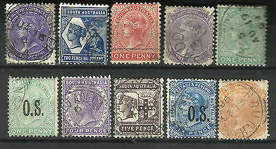 SOUTH AUSTRALIA Collection 10 Different COLONIES STATES Stamps Used (Lot 4)