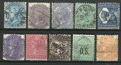 SOUTH AUSTRALIA Collection 10 Different COLONIES STATES Stamps Used (Lot 5)