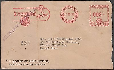 India 1956 Famous Hercules Cycle Advertisement On Meter Franked Cover