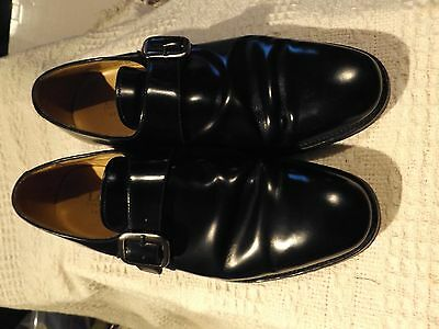 Men`s Loake Paisley Black Leather Slip On Shoes With Classic Monk Strap UK 7