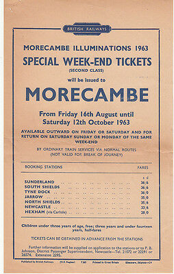 BR Morecambe Illuminations Special from  North East England 1963 price list
