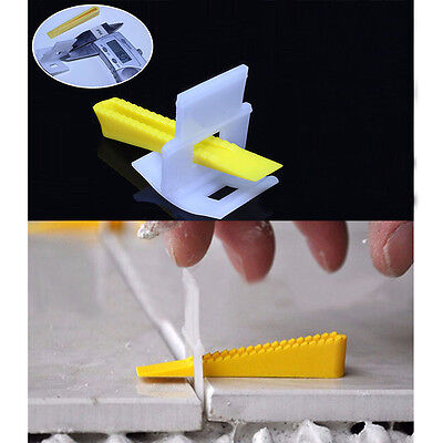 50 Clip   50 Wedge Tile Flat Leveling System Wall Flooring Spacers Device Kit