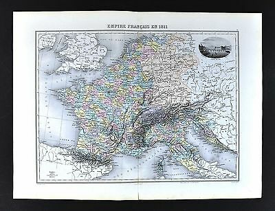 1880 Migeon Map - French Empire in 1811 - Napoleonic France  Paris Italy Germany