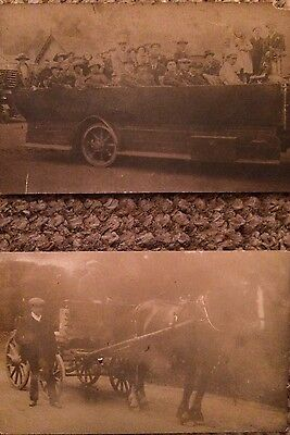Two vintage RP postcards - old bus on day trip and Horse and cart - u/d back
