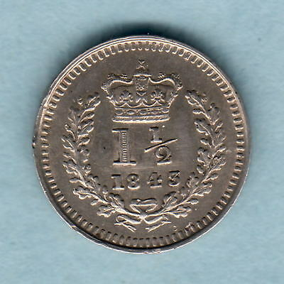 Great Britain.   1843 Victoria  -  Silver 1 1/2d..   EF