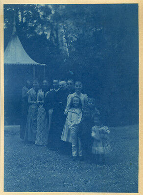 Photo Cyanotype Famille Vers 1900