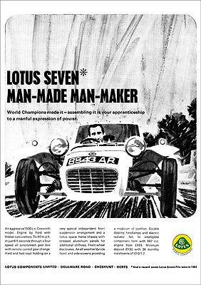 Lotus Seven 7 Series 2 Retro A3 Poster Print From 60's Advert