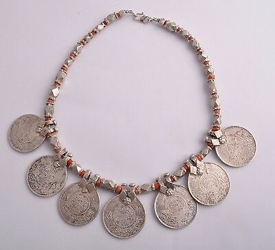 Old vintage Saudi silver coins , silver beads and red coral chocker necklace