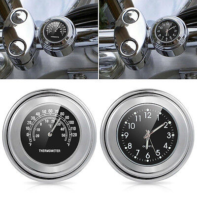 """7/8"""" 1"""" Motorcycle Accessory Handlebar Mount Clock Watch Thermometer For Suzuki"""