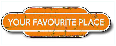 Train Station Aged Retro Vintage Old Train Aluminium 30x16cm ORANGE Any Name!